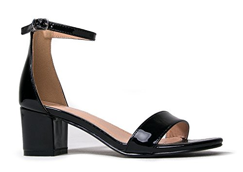J. Adams Ankle Strap Kitten Block Heel - Cute Easy Strappy Party Sandal - Buckle Low Heel Shoe - Daisy