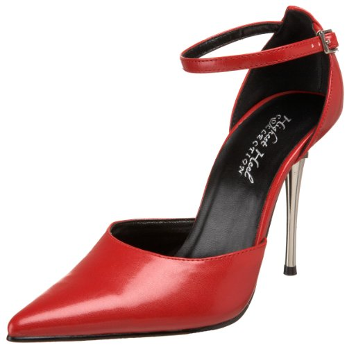 The Highest Heel Women's Slick Ankle-Strap Pump,Red Kid Polyurethane,10 M US -