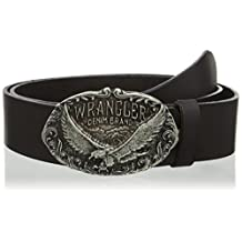 """WRANGLER """"Eagle Buckle"""" Cut to Fit Belt in Black Leather"""