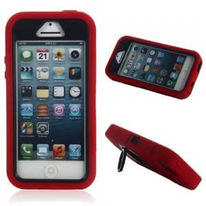 3-in-1 Silicone Plastic Protective Case w/ Ring Style Stand for iPhone 5/5S/5C Red