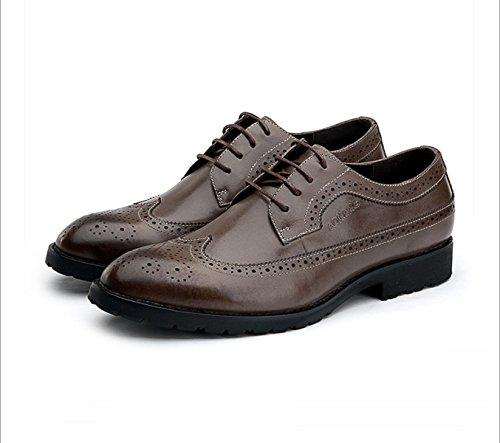LEDLFIE Hommes Chaussures Britannique Mode Bullock Sculpté Business Formalwear Chaussures en Cuir Faible Aide Marée Oxford Chaussures Kaki XL4ej4fpt