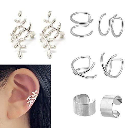 JININA Stainless Steel Ear Cuff Leaf Wrap Earrings Fake Lip Rings Tragus Helix Earrings for Women Men-Silver ()