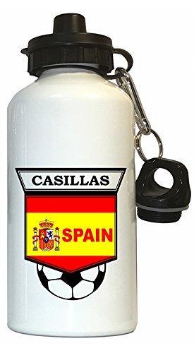 Iker Casillas (Spain) Soccer Water Bottle White by Custom Image Factory