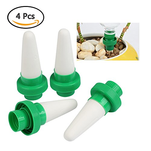 TIMESETL 4Pack Plant Waterer for Vacations, Ceramic Watering Spikes for Plastic Bottles, Self Plant Watering Devices for Indoor & Outdoor Potted Flower Tree and Drip - Containers Irrigation