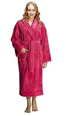 Arus Women's Shawl Fleece Bathrobe Turkish Soft Plush Robe