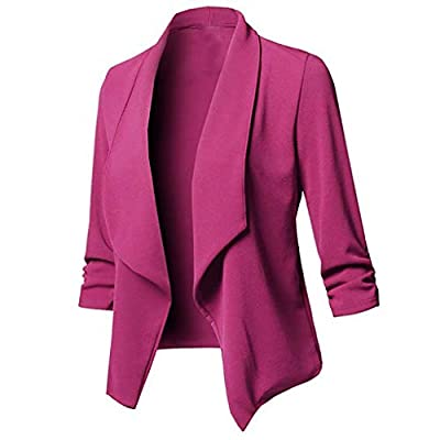 ALOVEMO Womens Solid Open Front Cardigan Long Sleeve Blazer Casual Work Jacket Coat for Women: Clothing