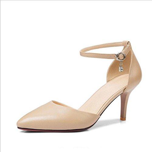W&LM Zapatos bajos de la boca del cuero afilado de señora high heels apricot