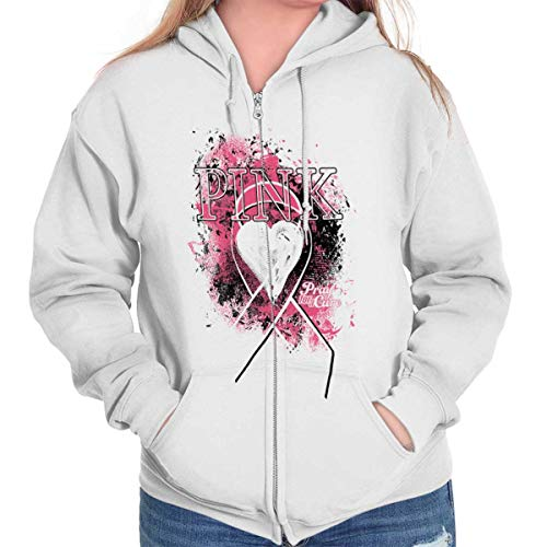 Classic Teaze Hope Cure Breast Cancer Awareness Ribbon Zip Hoodie White