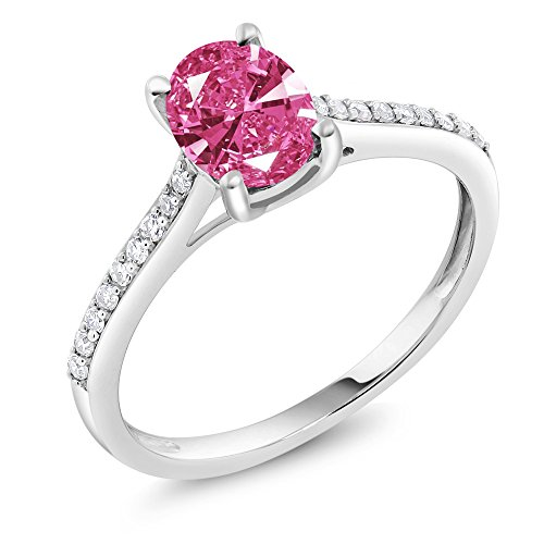 10K White Gold Diamond Accent Ring Oval Made with Pink Swarovski Zirconia