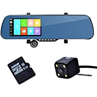 TOGUARD HD 5 Full HD 1080p Dual Lens Dash Camera, Android GPS navigation Touch Screen WiFi Rearview Mirror+Rearview Camera+32GB free Memory Card+Free