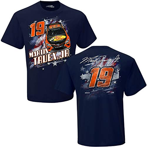 Checkered Flag NASCAR Adult Patriotic Americana Racing T-Shirt (#19 Martin Truex Jr, ()