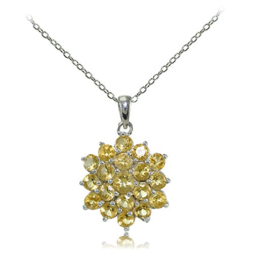 (Ice Gems Sterling Silver Genuine Citrine Flower Necklace)