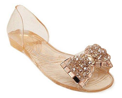 Minetom D'été Pour Femme Motif Bling Bowtie Jelly Sandales Pantoufles Plates Ouvrez Toe Shoes Champagne v7Bacp