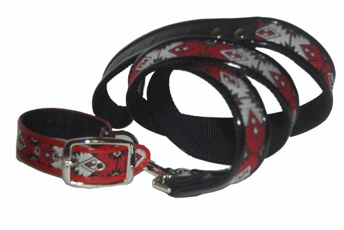 Jodi Head's RJ Cash Petwear Navajo Brocade Dog Collar and Leash, Small, Red Grey and Black, Leash has Black Binding, Collar has Red Binding by Unknown