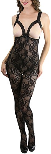 Peek A-boo Bow (ToBeInStyle Women's Lace Peek-A-Boo Crotchless Bodystocking Satin Bow - Black)