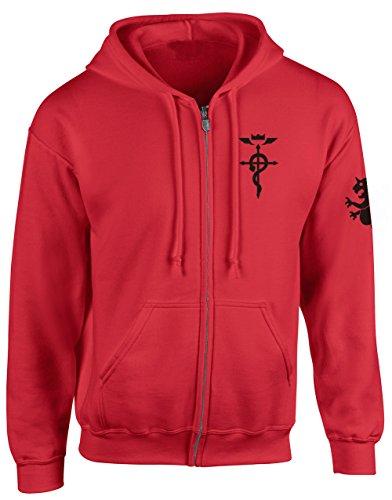 - Happy Yohe Edward Elric Fullmetal Alchemist Thin Hoodie Coat (Red, L)