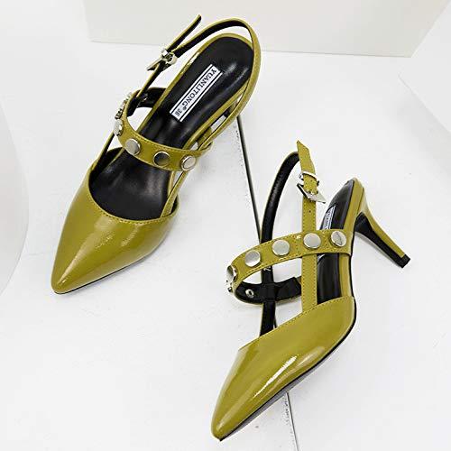 Zapatos Puntiaguda Punta Bajo Fiesta Boda Sexy Gatito Heels Paseo Mujeres Green Señoras Mid Slingback Zapatos Talón nfq64g