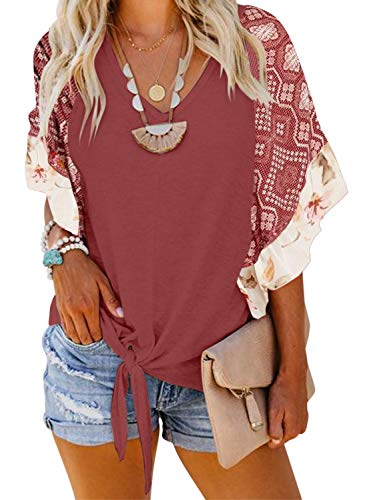 Asvivid Womens Summer Floral Printed Blouses V-Neck Ruffle Cap Sleeve Shirt Holiday Tunic Tops Plus Size 2X Red ()
