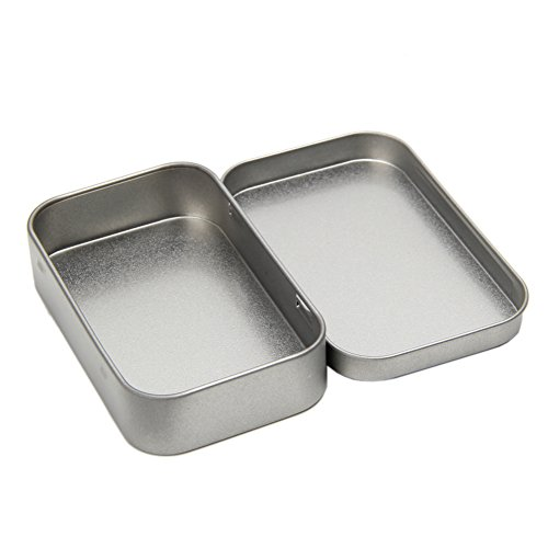 NNDA CO Small Metal Tin Silver Flip Storage Box Case Organizer For Coin Money Candy Key,1 Pc
