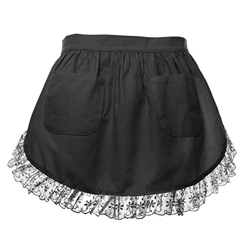 Aspire Waist Apron For Lady Lace Cotton Kitchen Half Apron With Two Pockets Maid Costume]()