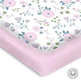 Best Mattress for Graco Pack N Play Pickle & Pumpkin Premium Graco Pack n Play Mattress Sheet | 100% Organic Jersey Cotton Pack and Play Fitted Sheet | 2 Pack | Perfect for Graco Playard and Playpen Mattress | Floral & Pink Design
