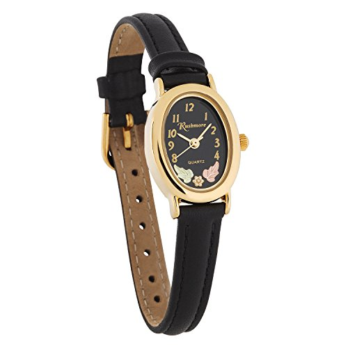 Oval Watch Face - Gorgeous! Black Hills Gold Two 12K Gold Leaves Black Face Women's Watch
