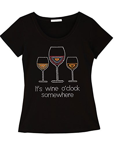 Share Tahoe It's Wine O'clock Somewhere Fun Women T-Shirt with Rhinestones for Wine Lovers (XX-Large, US 10-12)