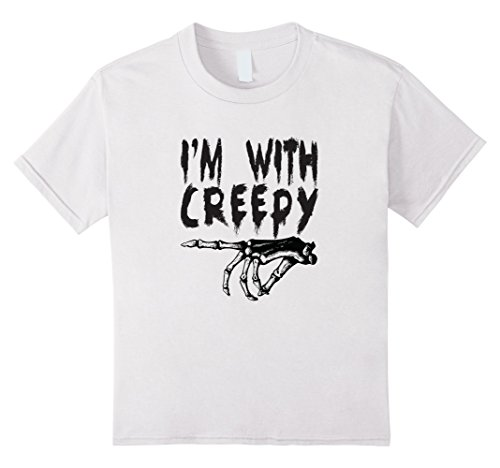 Kids I'm With Creepy - Spoopy Friend - Funny Halloween Shirt 4 White (White Guy Halloween Ideas)