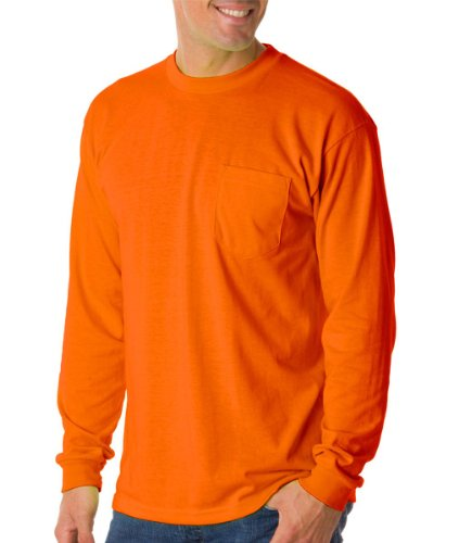 Bayside Mens Long-Sleeve Tee With Pocket (1730) -BRIGHT ORA -XL ()