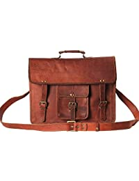 Handmadecart Messenger Bags for Men and Women Leather Laptop Briefcase Shoulder Satchel Crossbody Brown and Dark Brown Bag