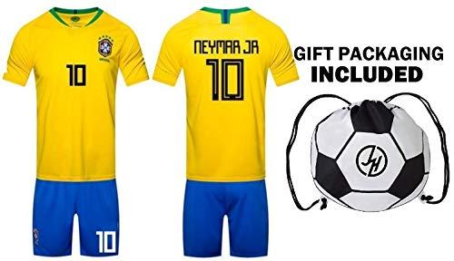 Fan Kitbag Neymar Jr #10 Brazil Youth Home/Away Soccer Jersey & Shorts Kids Premium Gift Kitbag ✮ BONUS GIFT PACKAGING Soccer Backpack (Youth Medium 8-10 Years, Home Short Sleeve) (Soccer Shorts Away)