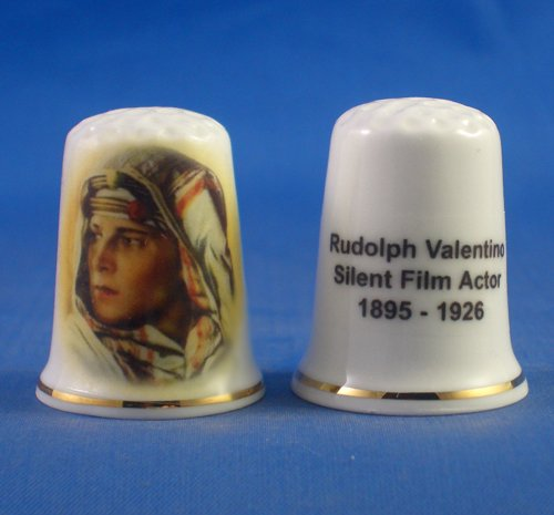 Porcelain China Collectable Thimble - Rudolph Valentino Silent Film Actor - Free Gift Box