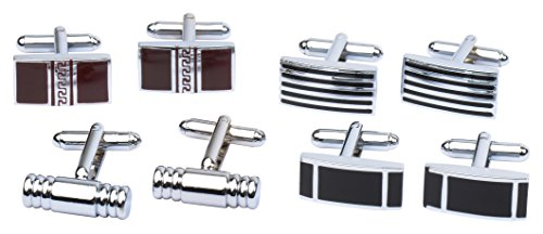4+Pairs+of+Classic+Cufflinks+By+Men%27s+Collection+%28Silver+1%29