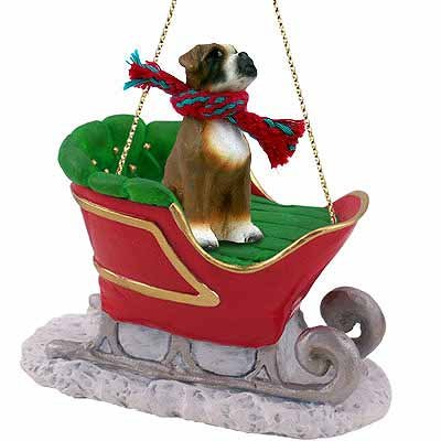 ... Boxer Sleigh Dog Christmas Ornament - Dog Christmas Ornaments By Breed