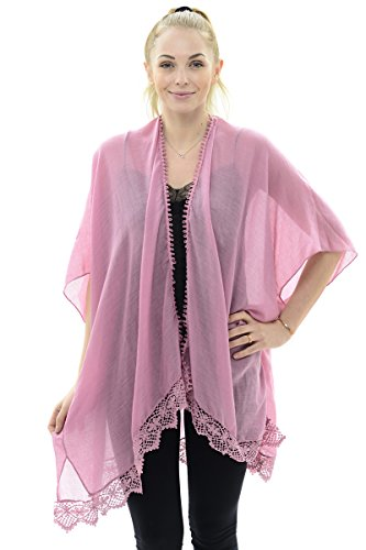 BYOS Womens Soft Sheer Open Front Long Kimono Shawl Warp With Lace Trim In Solid Color (Pastel Pink)