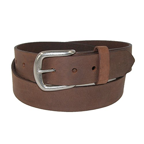 Boston Leather Men's Chieftain Leather Belt with Removable Roller Buckle, 42, Tan - Removable Roller Buckle