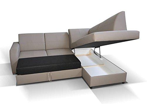 Polstermöbel Giovanna in braun mit Staukasten und Bettfunktion – Abmessungen: 245 x 200 cm (L x B) - Ottomane: Rechts