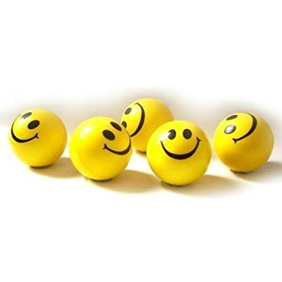 Dazzling Toys Happy Smile Face Stress Ball 1.5 Inch Balls - Pack of 24 - Neon Smile Face Relax-able Squeeze Balls in Yellow Color: Toys & Games