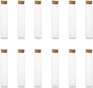 NUOBESTY 12pcs Clear Plastic Test Tube with Screw Cap Stopper Food Storage Jar for Scientific Experiments Party Storage 25x90mm