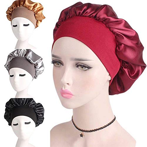 IETONE Set of 6 Women Wide Band Satin silk Bonnet Cap Comfortable Night Sleep Cap Ladies Soft Silk Long Hair Care Bonnet Headwrap-Mixed