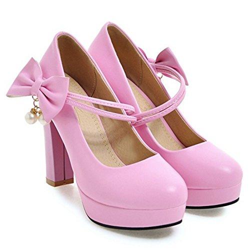 COOLCEPT Mujer Elegante Cerrado Tacon Ancho Alto Plataforma Vestido Court Bombas Zapatos con Bowknot Pink-Purple