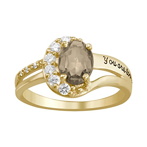 ArtCarved Motherly Genuine Smoky Quartz Personalized Women's Ring, 10k Yellow Gold over Silver, Size 8
