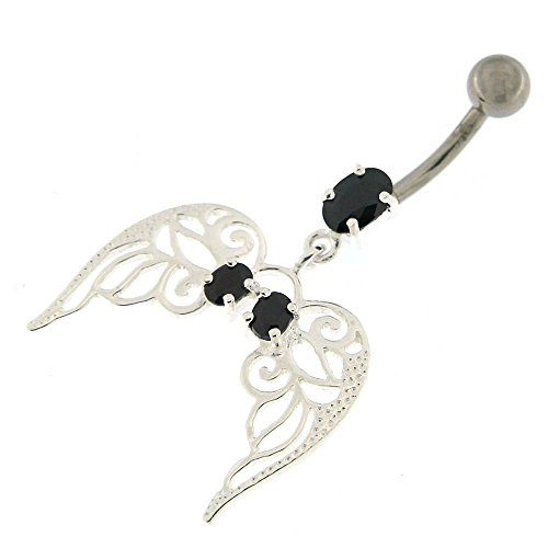 Black Gemstone Fancy Angel Wings with Floral Dangling Design 925 Sterling Silver with Stainless Steel Belly Button Navel - Black Navel Ring Dangling