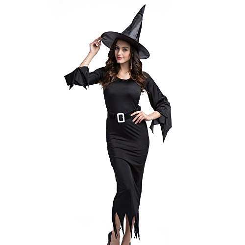 Long Black Witch Dress (TOPQSC Women's Holloween Costume Sexy Gothic Witch Dress with and Hat Black XL)