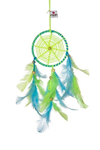 Rooh Dream Catcher ~Neon Green & Blue ~ Handmade Hangings for Positivity (Used as Home Décor Accents, Wall Hangings, Garden, Car, Outdoor, Bedroom, Key chain, Meditation Room, Yoga Temple, Windchime)