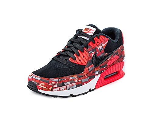 Nike Men's Air Max 90 PRNT, Black/Bright Crimson-White, 9.5 M ()