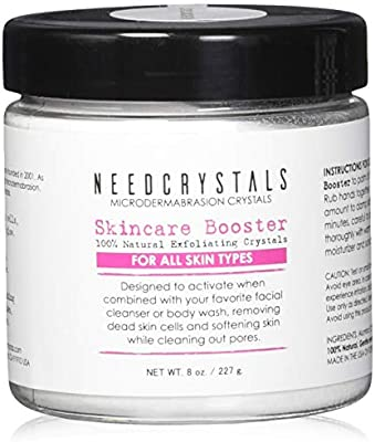 NeedCrystals Microdermabrasion Crystals 8 oz. / 227g. DIY Face Scrub. Natural Facial Exfoliator for Dull or Dry Skin Improves Acne Scars, Blackheads, Pore Size, Wrinkles, Blemishes & Skin Texture