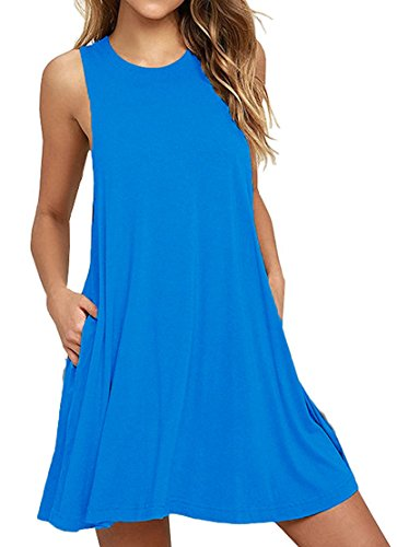 HAOMEILI Women's Sleeveless Pockets Casual Swing T-Shirt Summer Dresses XL Sky Blue