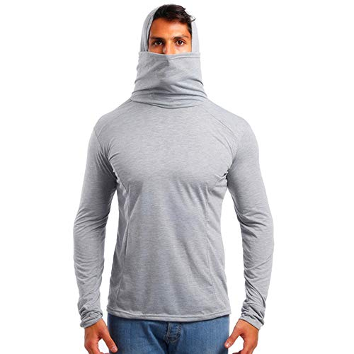 - AmyDong Long Sleeve Hooded T-Shirt with Mask for Men in Autumn Winter Blouse Tops Gray