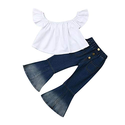Merqwadd Toddler Baby Girl Clothes Off Shoulder Tube Top Shirt Bell Bottom Jeans Pants Summer Outfits (White Top, 4-5T)